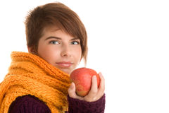 Mujer con la manzana Fotos de archivo