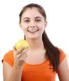Mujer con la manzana Imágenes de archivo libres de regalías