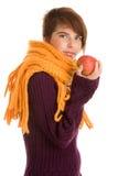 Mujer con la manzana Fotos de archivo libres de regalías
