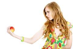 Mujer con la manzana Foto de archivo
