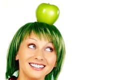 Mujer con la manzana Fotografía de archivo