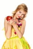 Mujer con la manzana roja. Fotos de archivo libres de regalías