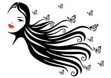 Mujer con la mariposa stock de ilustración
