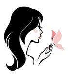 Mujer con la mariposa libre illustration