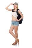 Mujer con la mochila aislada Foto de archivo libre de regalías