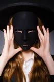 Mujer con la máscara Imágenes de archivo libres de regalías