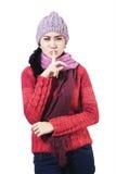 Mujer con la muestra del silencio Imagen de archivo