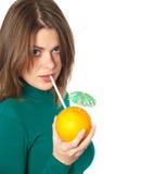 Mujer con la naranja Fotos de archivo libres de regalías