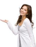 Mujer con la palma para arriba Imagenes de archivo