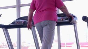 Mujer con la parte inferior gorda que camina en la rueda de ardilla, entrenamiento activo de la pérdida de peso en gimnasio almacen de metraje de vídeo