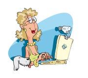 Mujer con la PC de la computadora portátil Fotografía de archivo