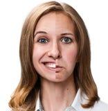 Mujer con la piel del problema imagen de archivo