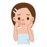 Mujer con la piel manchada con los poros y espinilla profundos Imagen de archivo libre de regalías