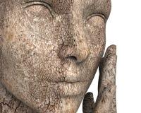 Mujer con la piel seca muy aislada en blanco ilustración del vector