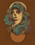 Mujer con la pintura de la cara del cráneo del azúcar Imagenes de archivo