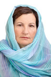 Mujer con la pista cubierta Imágenes de archivo libres de regalías
