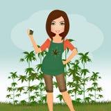 Mujer con la planta del cáñamo stock de ilustración