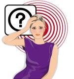 Mujer con la pregunta Imagen de archivo libre de regalías