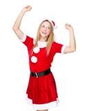 Mujer con la preparación y la sensación del partido de Navidad emocionadas Imagen de archivo