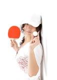 Mujer con la raqueta para el tenis de vector Imagen de archivo