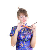Mujer con la salchicha Foto de archivo libre de regalías