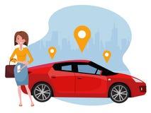 Mujer con la situación del smartphone cerca del coche Alquile un coche usando el app m?vil Concepto en línea del coche compartido ilustración del vector