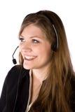Mujer con la sonrisa del receptor de cabeza Fotografía de archivo