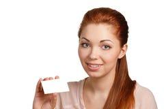 Mujer con la tarjeta de crédito Imagenes de archivo