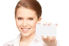 Mujer con la tarjeta de visita Foto de archivo