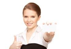 Mujer con la tarjeta de visita Imágenes de archivo libres de regalías
