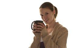 Mujer con la taza de café Foto de archivo libre de regalías