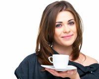 Mujer con la taza de café aislada Imagenes de archivo