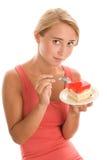 Mujer con la torta Fotos de archivo libres de regalías