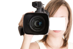 Mujer con la videocámara Imagen de archivo libre de regalías