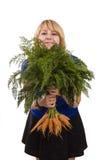 Mujer con la zanahoria imágenes de archivo libres de regalías