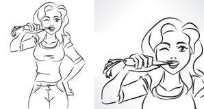 Mujer con la zanahoria stock de ilustración