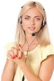 Mujer con las auriculares Imagen de archivo