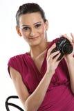 Mujer con las cámaras digitales Imagenes de archivo