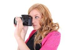 Mujer con las cámaras digitales en manos Fotografía de archivo