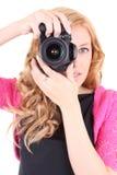 Mujer con las cámaras digitales en manos Imágenes de archivo libres de regalías