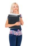Mujer con las carpetas fotografía de archivo libre de regalías