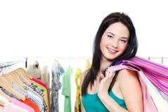 Mujer con las compras Imágenes de archivo libres de regalías