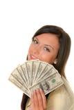 Mujer con las cuentas de dólar Foto de archivo