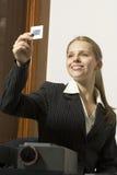 Mujer con las diapositivas - vertical imágenes de archivo libres de regalías
