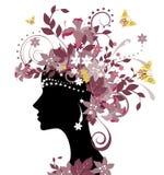 Mujer con las flores stock de ilustración