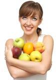 Mujer con las frutas Fotografía de archivo
