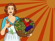 Mujer con las frutas y verdura