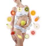 Mujer con las frutas y verduras, concepto del cuidado del cuerpo de la dieta, isolat imágenes de archivo libres de regalías