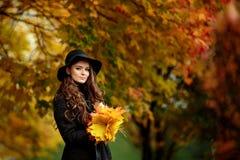 Mujer con las hojas de otoño a disposición y el fondo amarillo del jardín del arce de la caída Imagenes de archivo