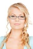 Mujer con las lentes Fotografía de archivo libre de regalías